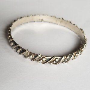 "2.5"" Mexico Sterling Silver Caviar Bangle Bracelet"